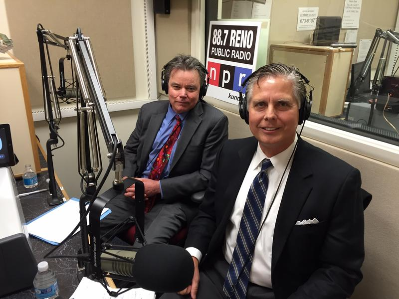 University of Nevada, Reno Provost Kevin Carman (left) and Business Dean Greg Mosier in the KUNR studios. December 2015.