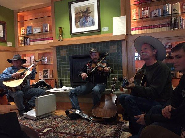 Impromptu jam session at Western Folklife Center in Elko as the Cowboy Poetry Gathering gets underway.