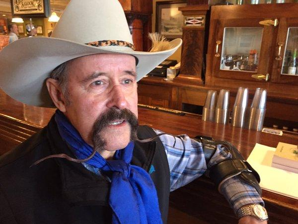Bill Lowman, cowboy poet from Sentinel, ND, has been coming to the gathering since its founding in 1985.