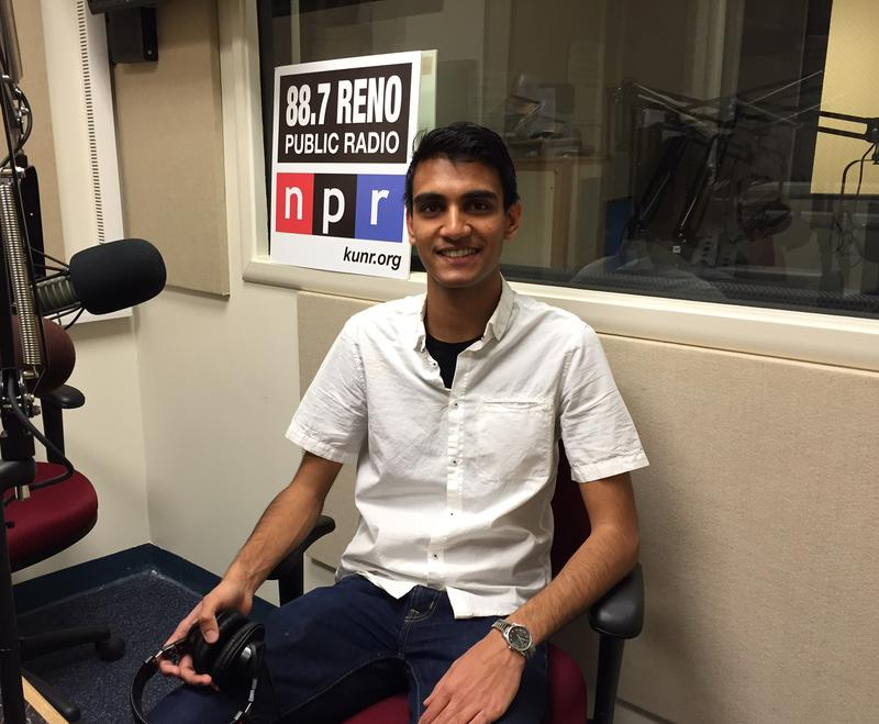 University of Nevada, Reno sophomore Shahil Pema at the KUNR studios.