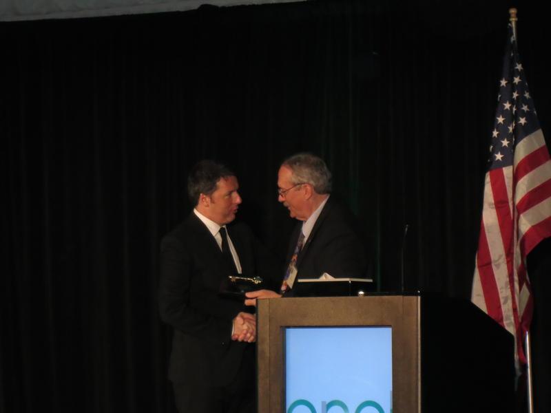 Italian Prime Minister, Matteo Renzi receiving the key to the city of Fallon from Mayor Ken Tedford.