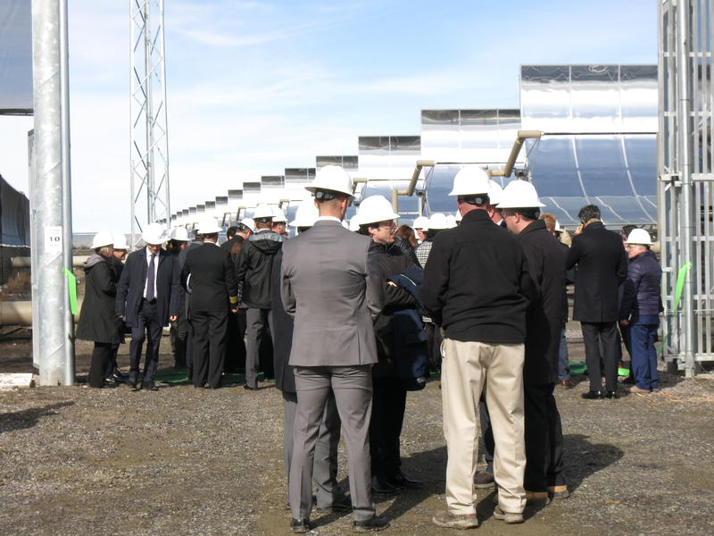 Dignitaries and special guests attend the ribbon cutting of the Stillwater Hybrid Plant's solar thermal operation.