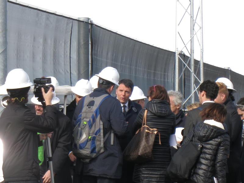 Italian Prime Minister, Matteo Renzi, tours the facilities in Fallon, Nevada.