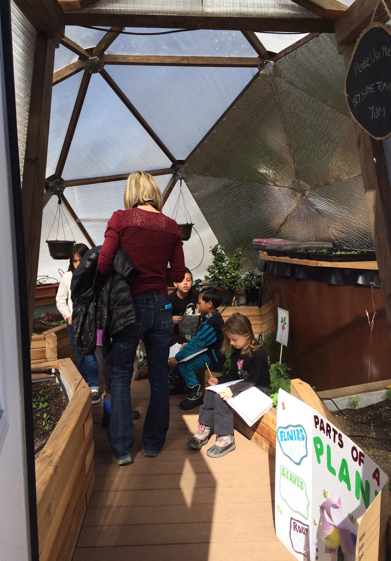 A parent volunteer leads a botany lesson in one of the domes.
