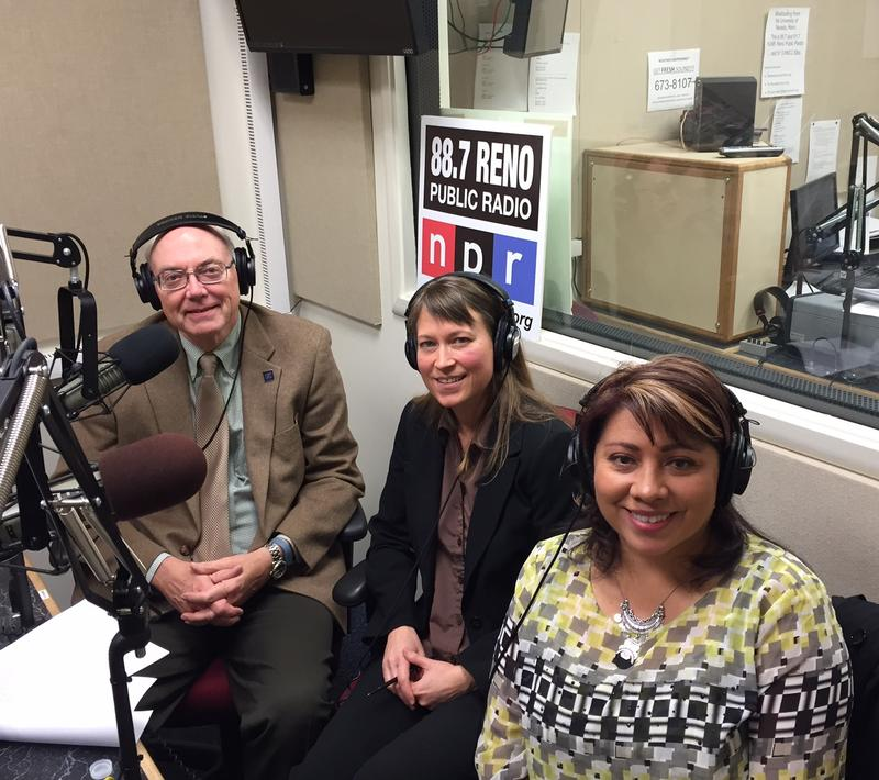 University of Nevada, Reno President Marc Johnson visits in the KUNR studio with anthropology professor Sarah Cowie (center) and university alumna Sherry Rupert, executive director of the Nevada Indian Commission. March 2016