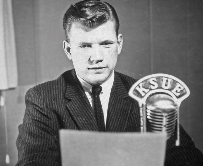 Bob Carroll in 1956 at KSUE in Susanville, Calif.