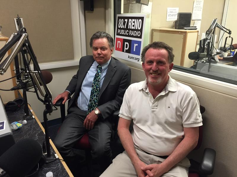 University of Nevada, Reno Provost Kevin Carman (left) visits with Seismology Lab Director Graham Kent in the KUNR studios.