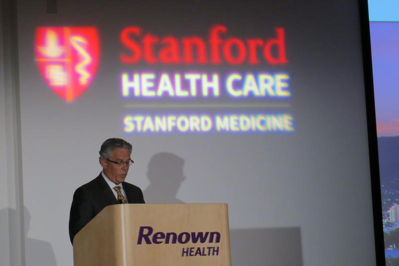 Kirk Gillis (pictured) and other Renown and Stanford executives announced the partnership to a crowd of 100 people.