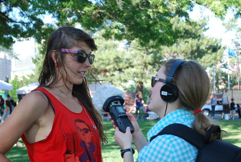 Natalie Van Hoozer, KUNR's Business News Intern, interviews artist Jennifer Charboneau.