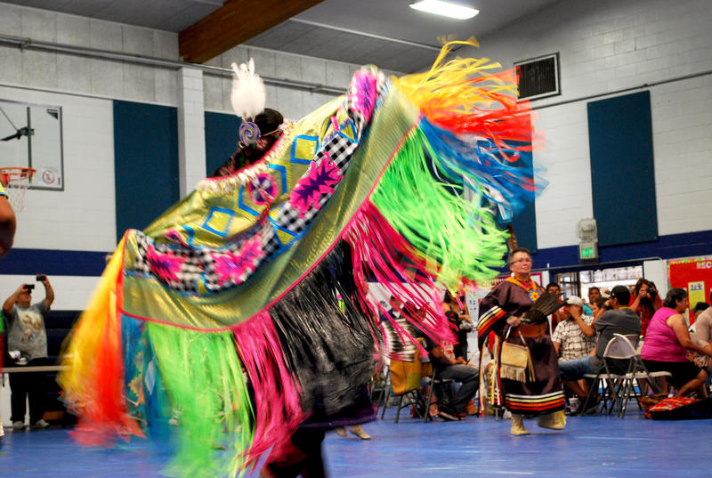 A dancer's brightly colored regalia catches the eye as she spins during a performance