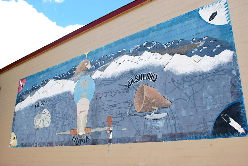 A mural on the wall outside the gymnasium of the Reno-Sparks Indian Colony