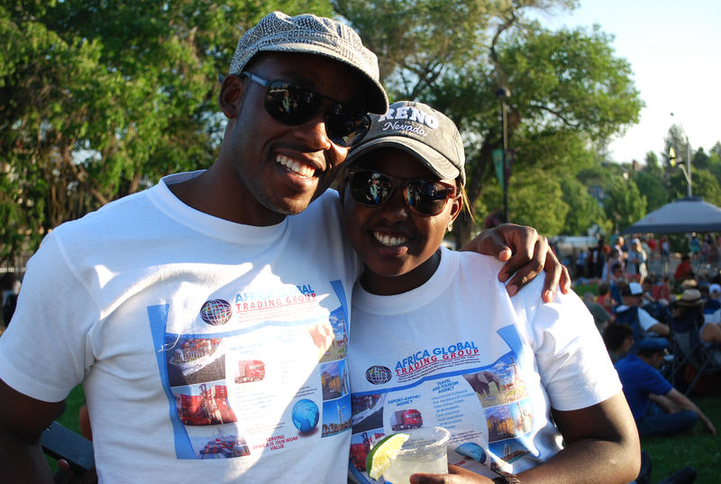 Gakii Biriri and Raymond Ledwaba, both Mandela Washington Fellows, pose for a picture during the Opening Night Jubilee.