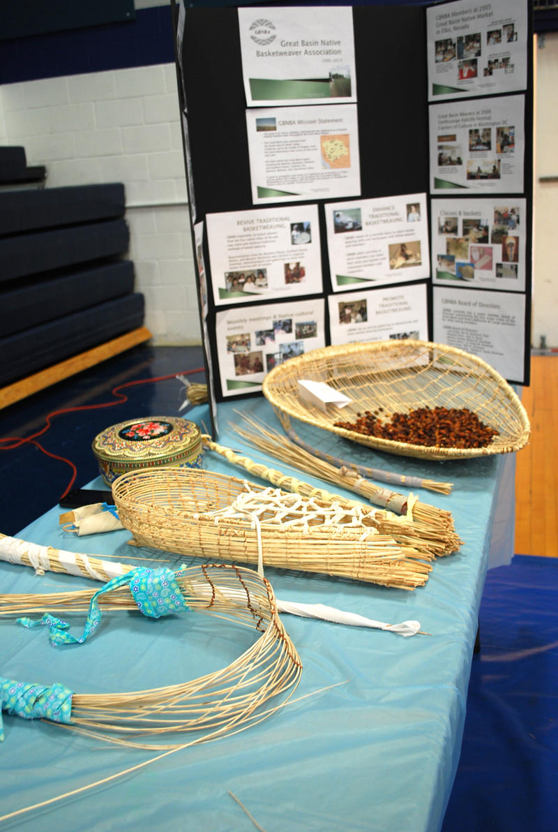Some of member Tammie Henry's work. There are completed and in-progress cradleboards, as well as a winnowing basket used to sort pine nuts, part of the traditional diet for local tribes