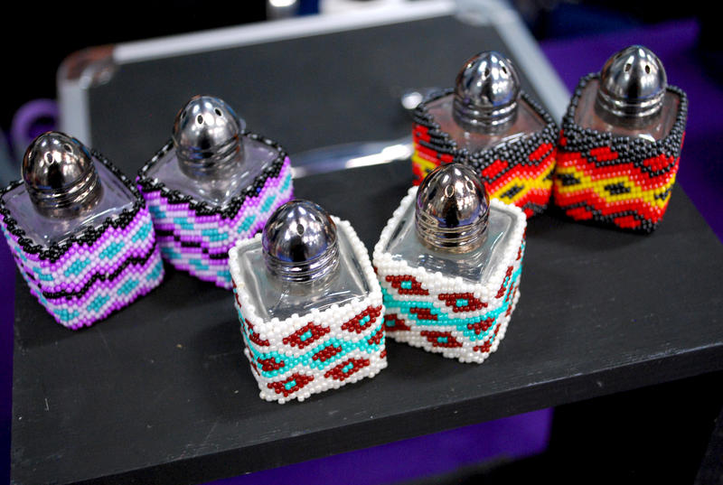 Detail of beadwork designs on salt and pepper shakers, by Trisha Calabaza, of the Paiute, Shoshone, and Miwok tribes