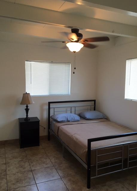 A look inside the bedroom of one of the new housing units for veterans.