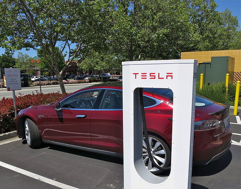 A Tesla supercharger station in Gilroy, California.