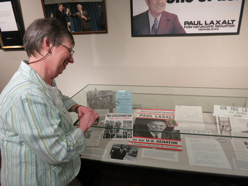 Jacquelyn Sundstrand, the manuscripts and archives librarian at UNR's special collections, explains the significance behind many of the campaign materials of former Nevada Senator Paul Laxalt.