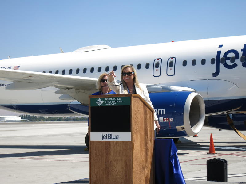 Reno Mayor Hillary Schieve (right), along with Reno-Tahoe Airport Authority CEO Marily Mora, address the crowd during August's first flight between Reno and Long Beach, California.