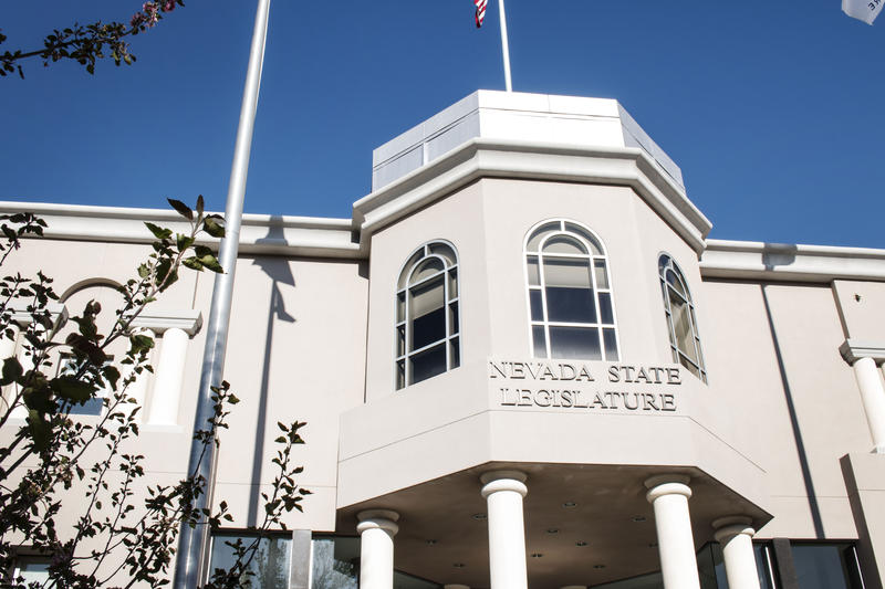 The Nevada State Legislature building on a sunny day in Carson City, Nevada.