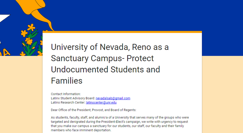 A screenshot of the petition signed by more than 900 people, being delivered to University of Nevada, Reno President Marc Johnson
