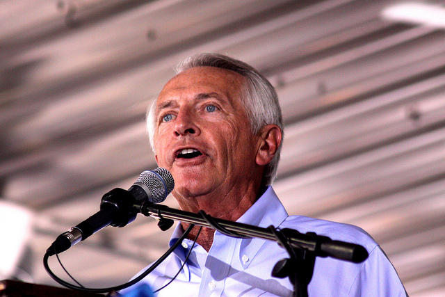 Former Kentucky Governor Steve Beshear speaks at the Fancy Farm picnic in Fancy Farm, Kentucky in 2010.