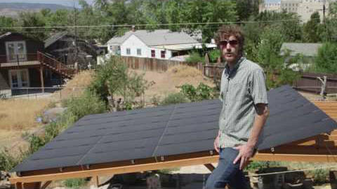 David Gibson Displays His Backyard Solar Array.