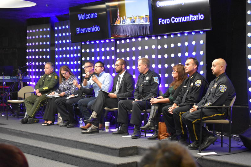 Panelists included Reno law enforcement, Councilman Oscar Delgado and the Northern Nevada International Center's Carina Black.