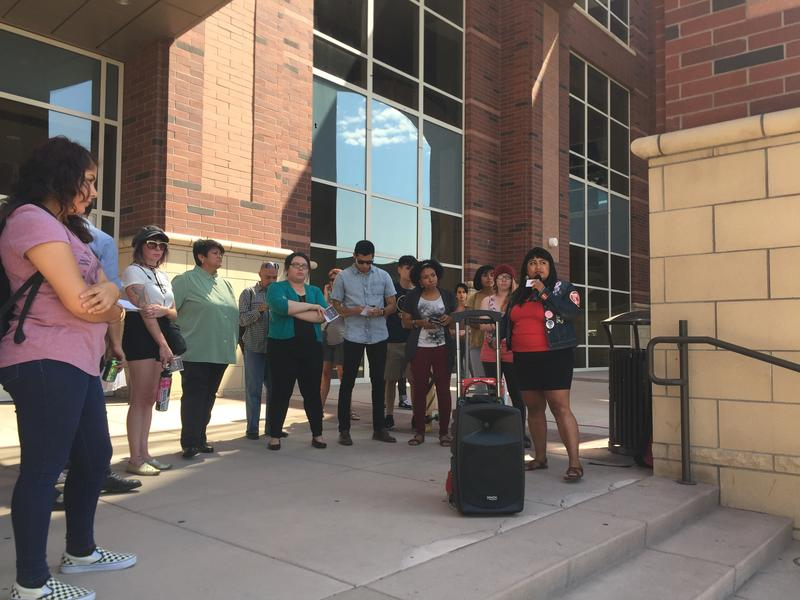 Xóchítl Pāpalōtl organized the Walk Out In Support Of DACA Students and speaks to the crowd gathered in front of the Knowledge Center.