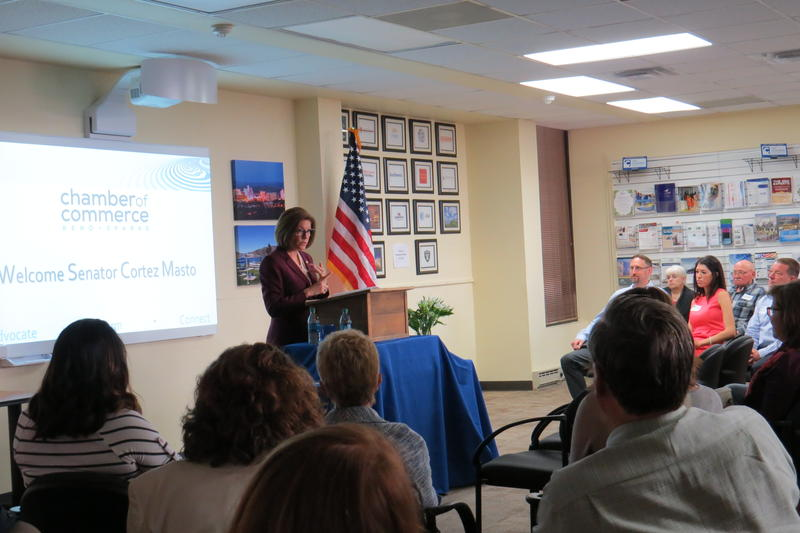 Senator Catherine Cortez Masto introduces a small business resource guide at the Reno-Sparks Chamber of Commerce.
