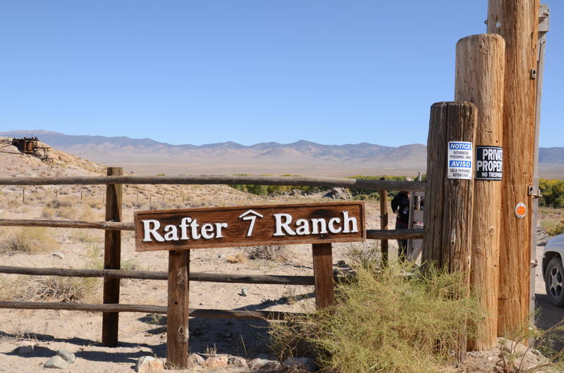 A sign greets visitors to the Rafter 7 Ranch, about 17 miles away from the Pitchfork Ranch.