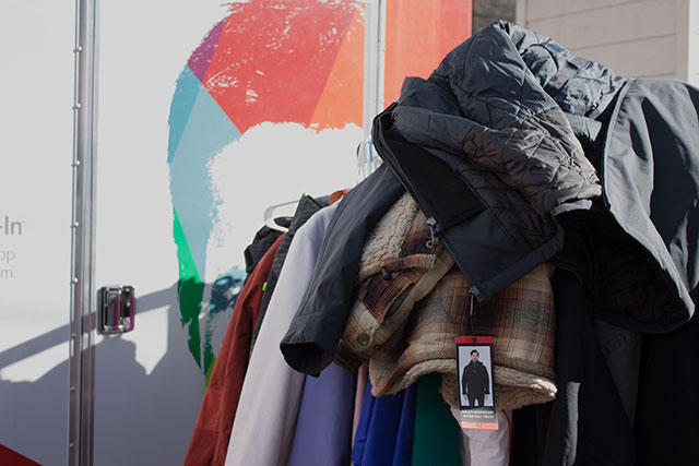 Members of the community donated winter coats and other goods for the homeless youth. CREDIT: Camille Stuyvesant