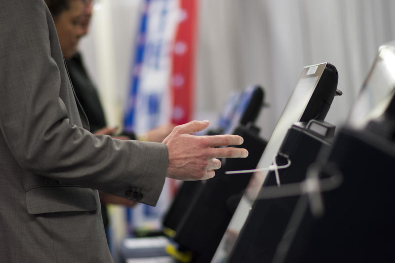 Voting booths at an election center.