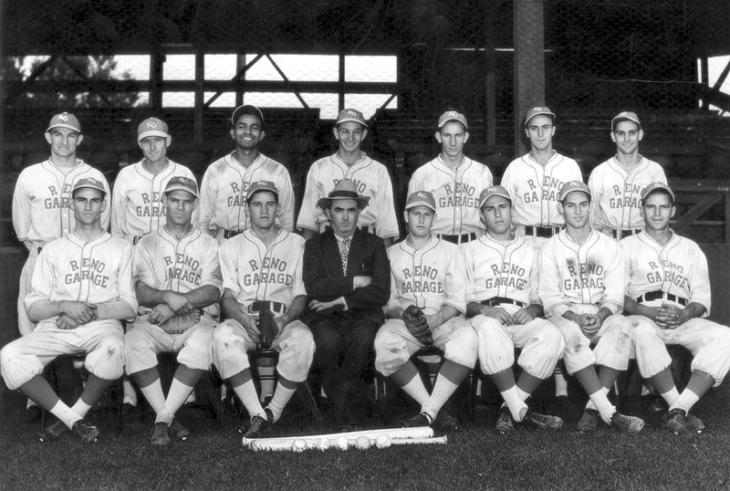Bud Beasley stands in the far left of this team photo.