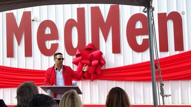 Adam Bierman, co-founder and CEO of MedMen, speaks during the ribbon-cutting ceremony at MedMen Mustang, the company's new $15 million marijuana facility east of Reno.