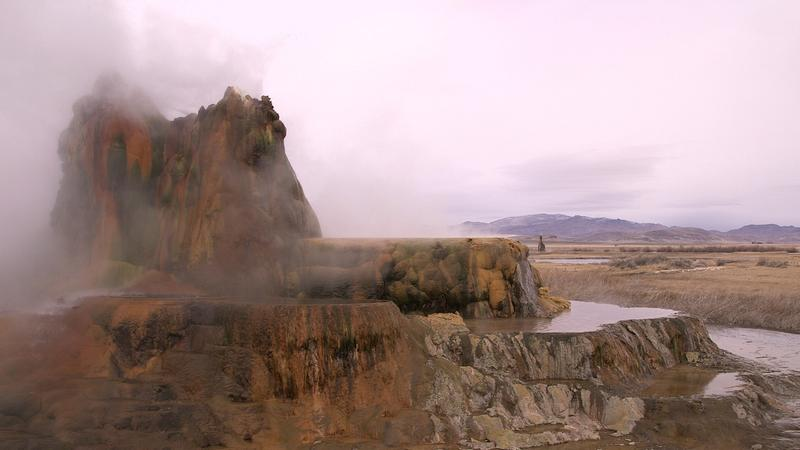 Fly Geyser, pictured here, is now open to the public with an arranged visit on weekends.