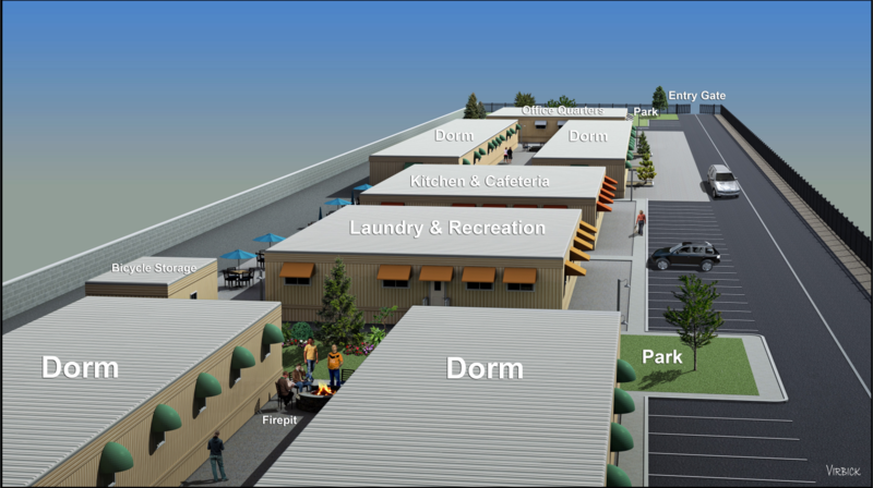 "A rendering of the ""dorm style"" housing project approved by Reno City Council"