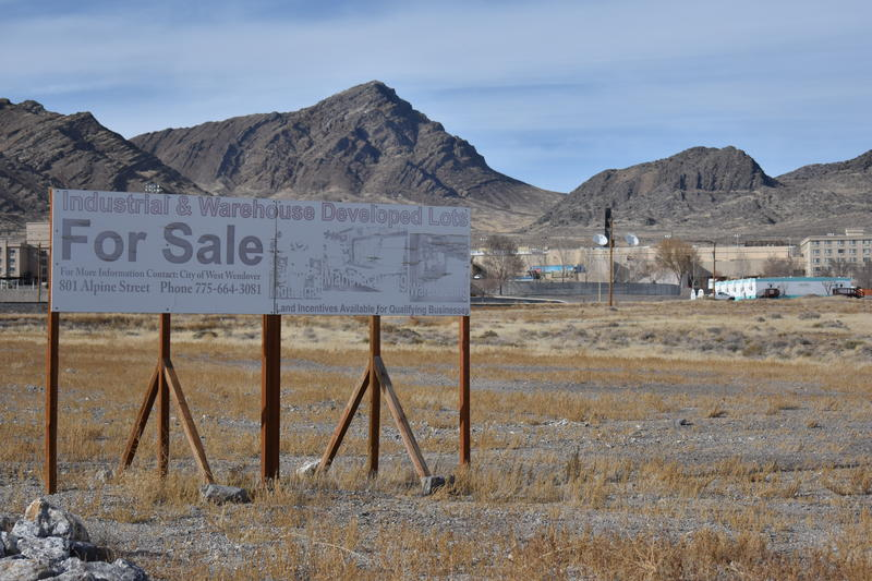 A for sale sign sits on the edge of the West Wendover Industrial Park. The park could soon be the home to the area's first cannabis dispensary.