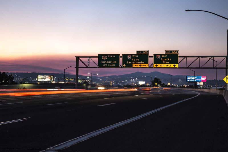 An evening shot of a highway in Reno, Nevada.