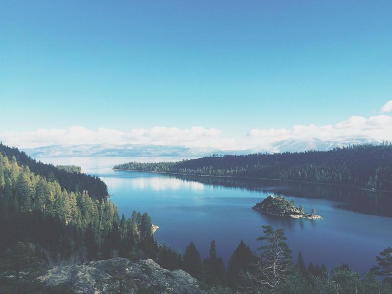 A view of Lake Tahoe during the day.