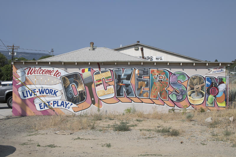 A mural greets those who enter Dickerson Road, a sign of the artistic things one may find ahead.