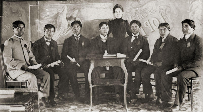 The first graduating class of the Stewart Indian School in 1901.