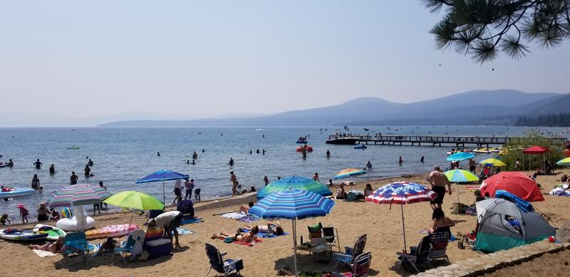 Heavy smoke from wildfires hangs over Lake Tahoe.