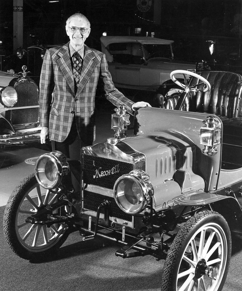 Bill Harrah with some of the cars in his extensive collection