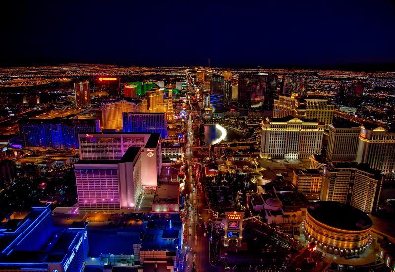 Aerial photo of Las Vegas strip at night.