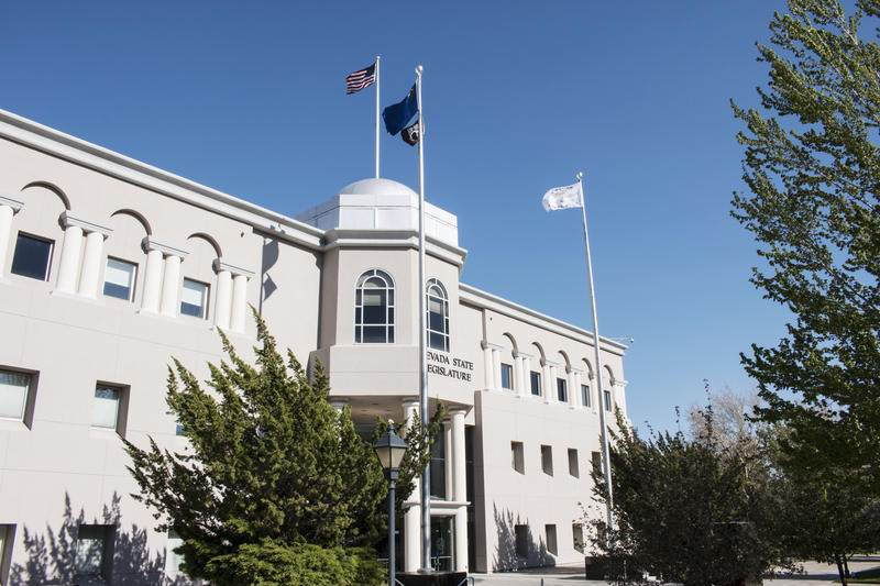 The photo is the front of the Nevada State Legislature buidling in Carson City, Nevada.