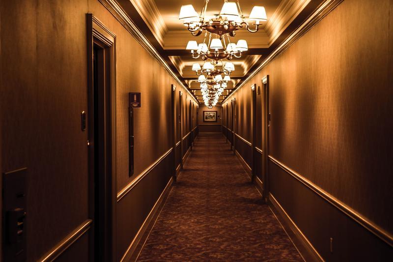 Dark hotel hallway