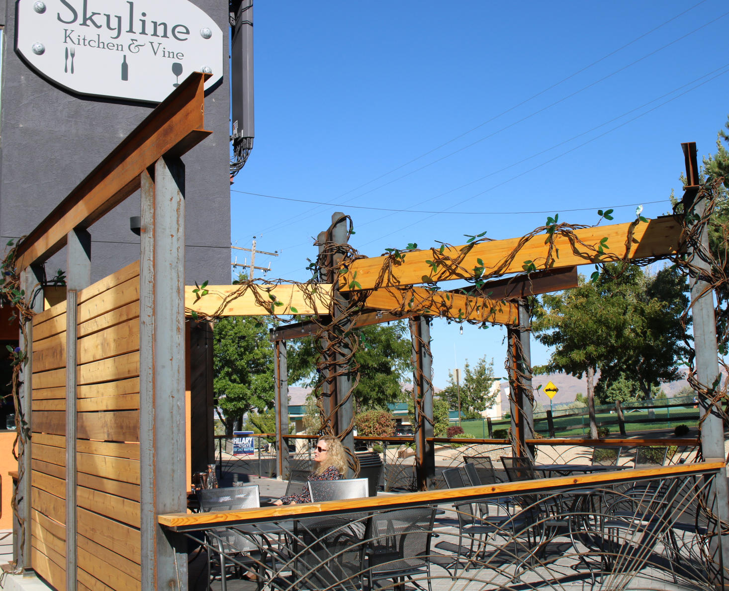 Genial Brown Metal Vines With Glass Leaves Wrap Around Patio Posts At A Reno  Restaurant. They