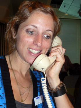 Sara Lerner talks on the phone.