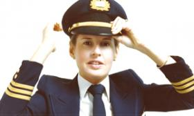 Stephanie Wallach in her pilot uniform in the 1970's.