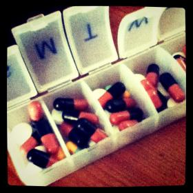 Sugar pills in a case